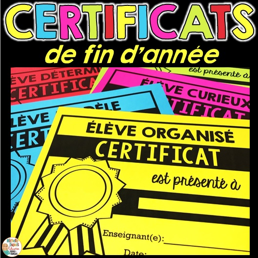 certificats de fin d'année scolaire French End of Year Awards