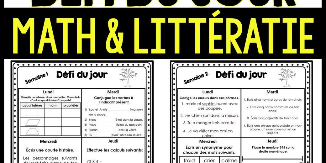 défi du jour math et littératie gratuit