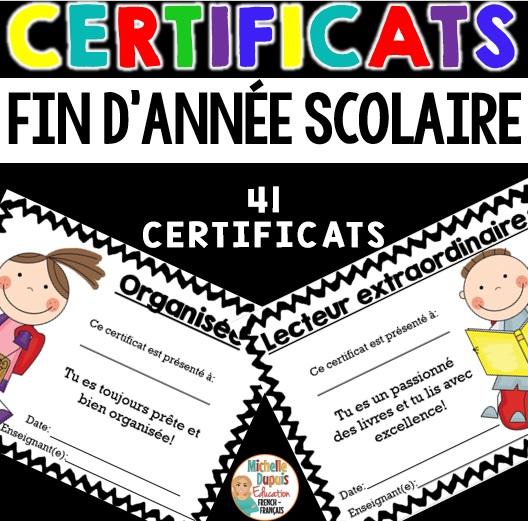 certificats de fin d'année scolaire pour les élèves