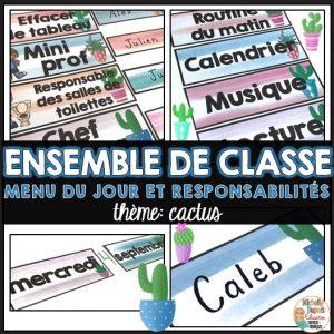 menu du jour responsabilités étiquettes pour la classe thème cactus