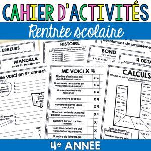 cahier d'activités pour la 4e année